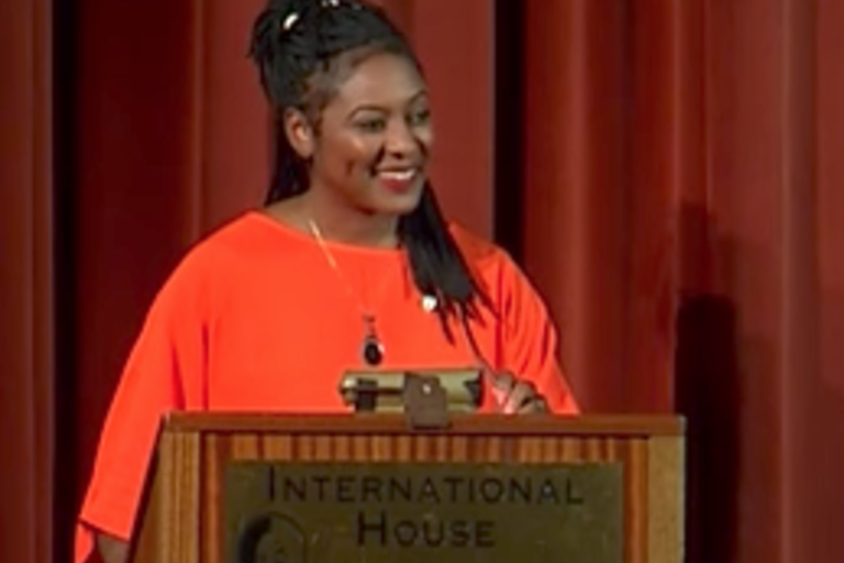 Alicia Garza, co-founder of Black Lives Matter, presents a keynote lecture Oct. 2017.