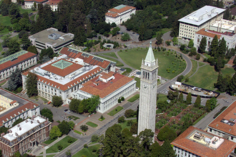 Aerial photograph that includes Sproul Plaza, the Campanile, and Barrows hall - Building Renaming Project Task Force - Summary and Recommendations, April 2017