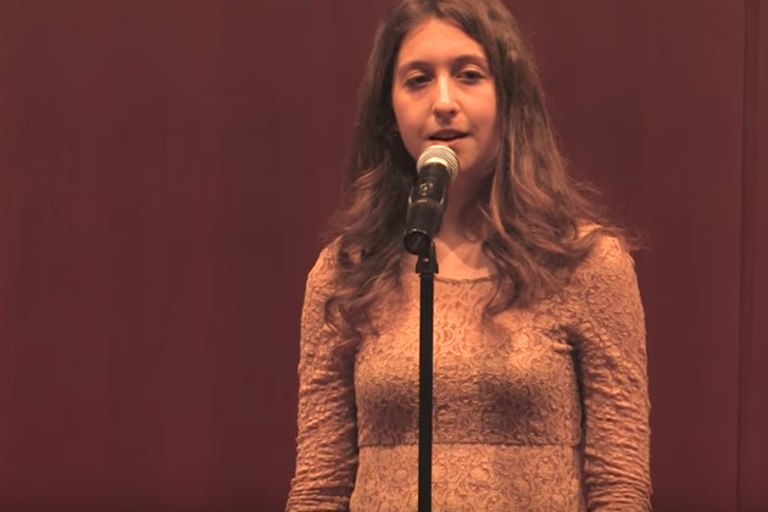"Lily Meyers reciting ""Shrinking Woman"" at the Button Poetry gathering in April 2013."