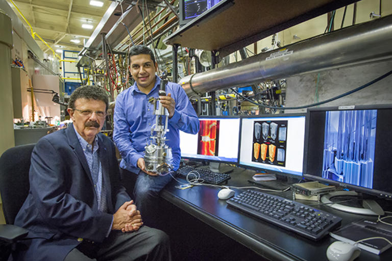 Professor Robert Ritchie and Hrishikesh Bale at ALS Beamline 8.3.2 - research using X-ray synchrotron micro-tomography to test ceramics used in jet engines and other applications under extreme temperatures.
