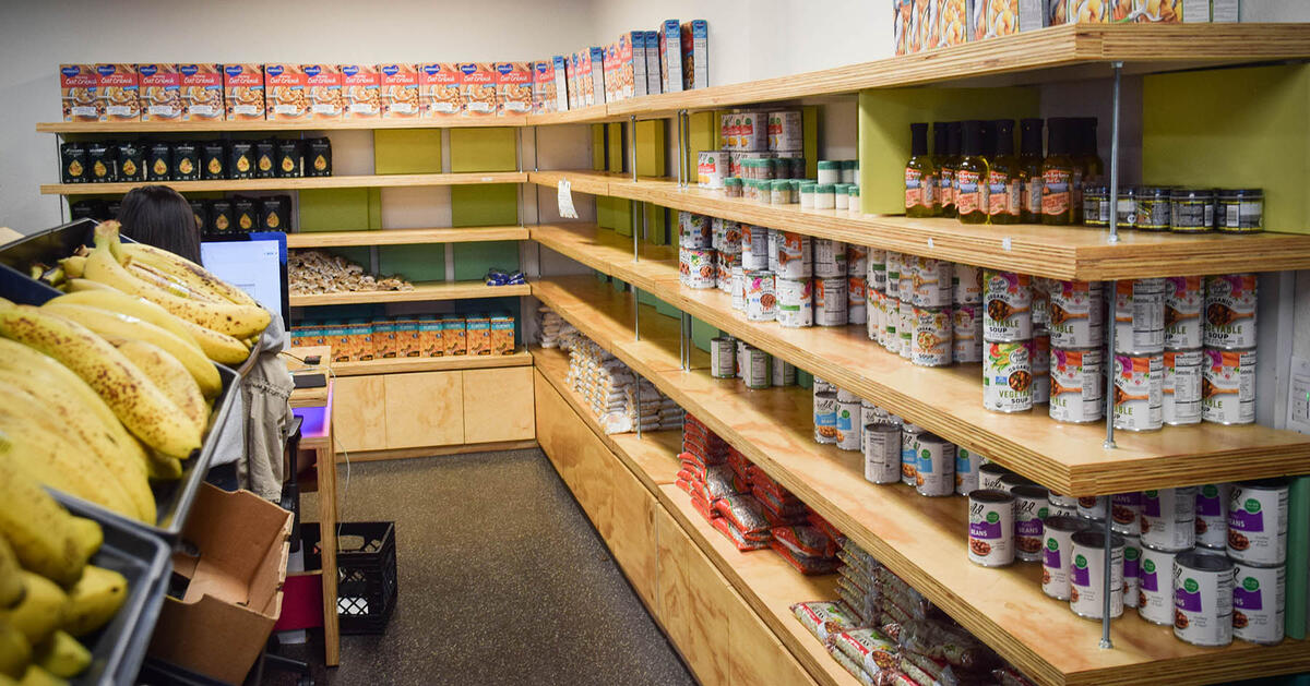 Basic Needs Center - the inside of the pantry with food on the shelves.