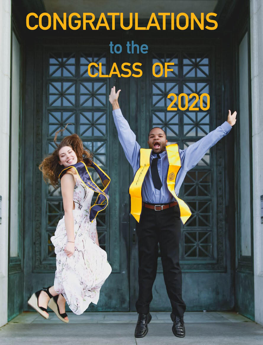 Congratulations to the Class of 2020 - Photograph of 2 previous graduates celebrating in front of Doe Library.