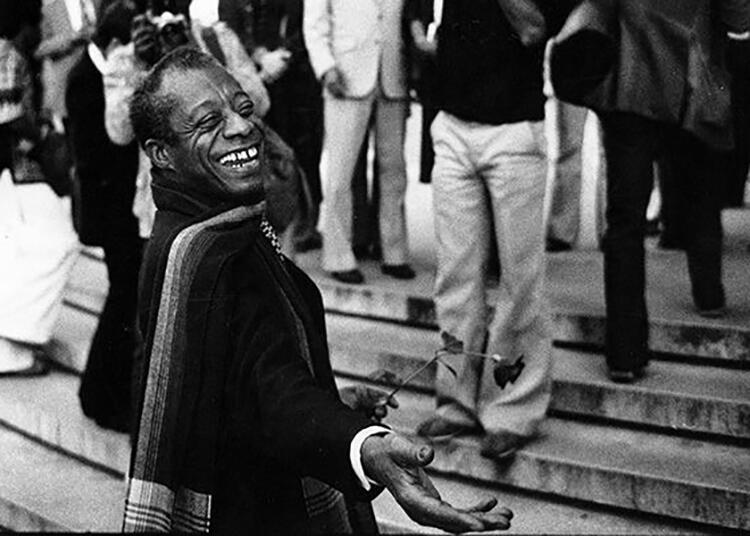 James Baldwin pictured here in 1979 at the steps of UC Berkeley's Doe Library.