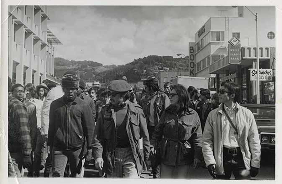 Third World Liberation Front march down Bancroft Ave. in 1969.