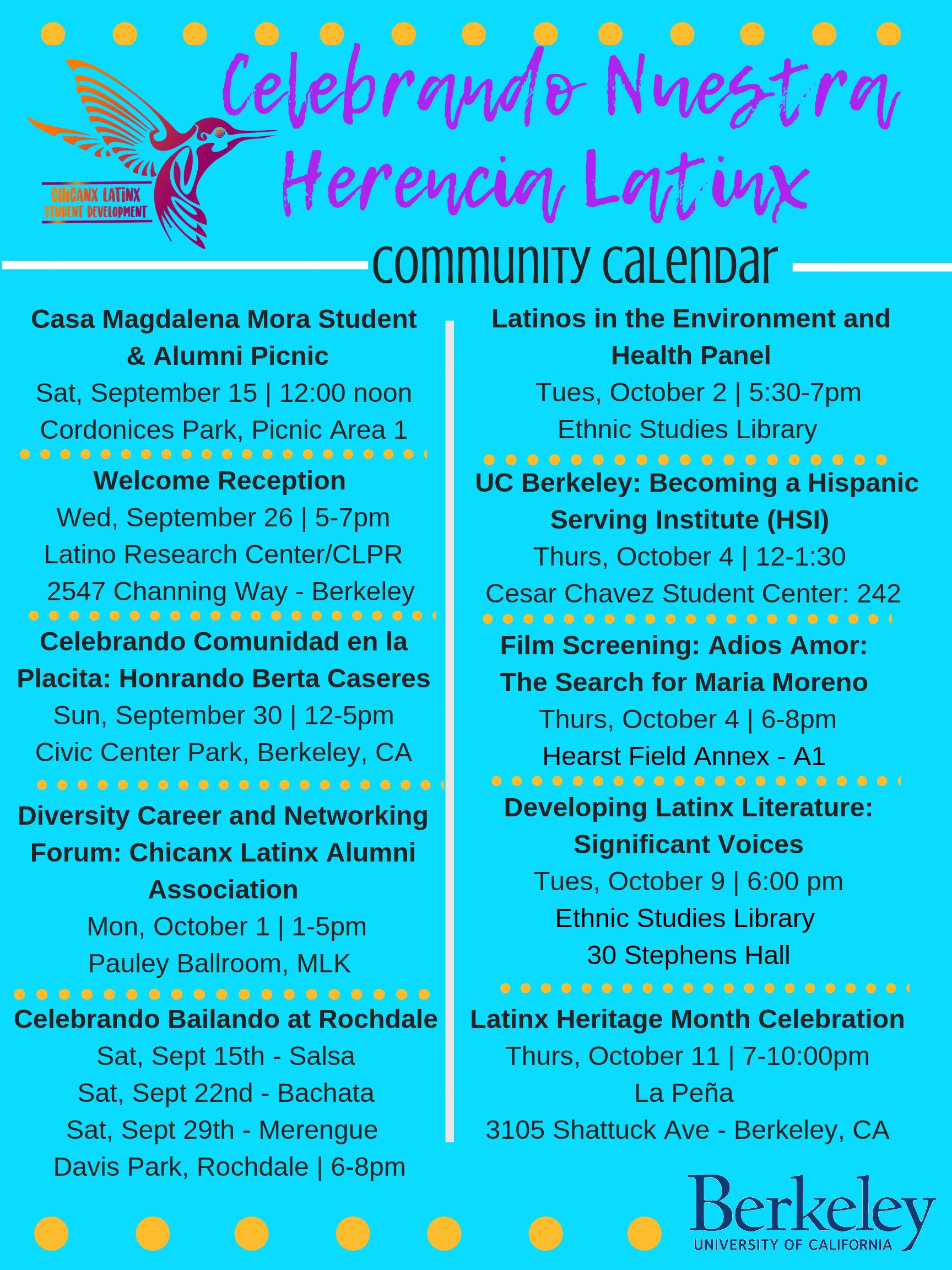 Calendar of some of the events that will be held during Latinx Heritage Month 2018 Sept. 15 - Oct. 15.