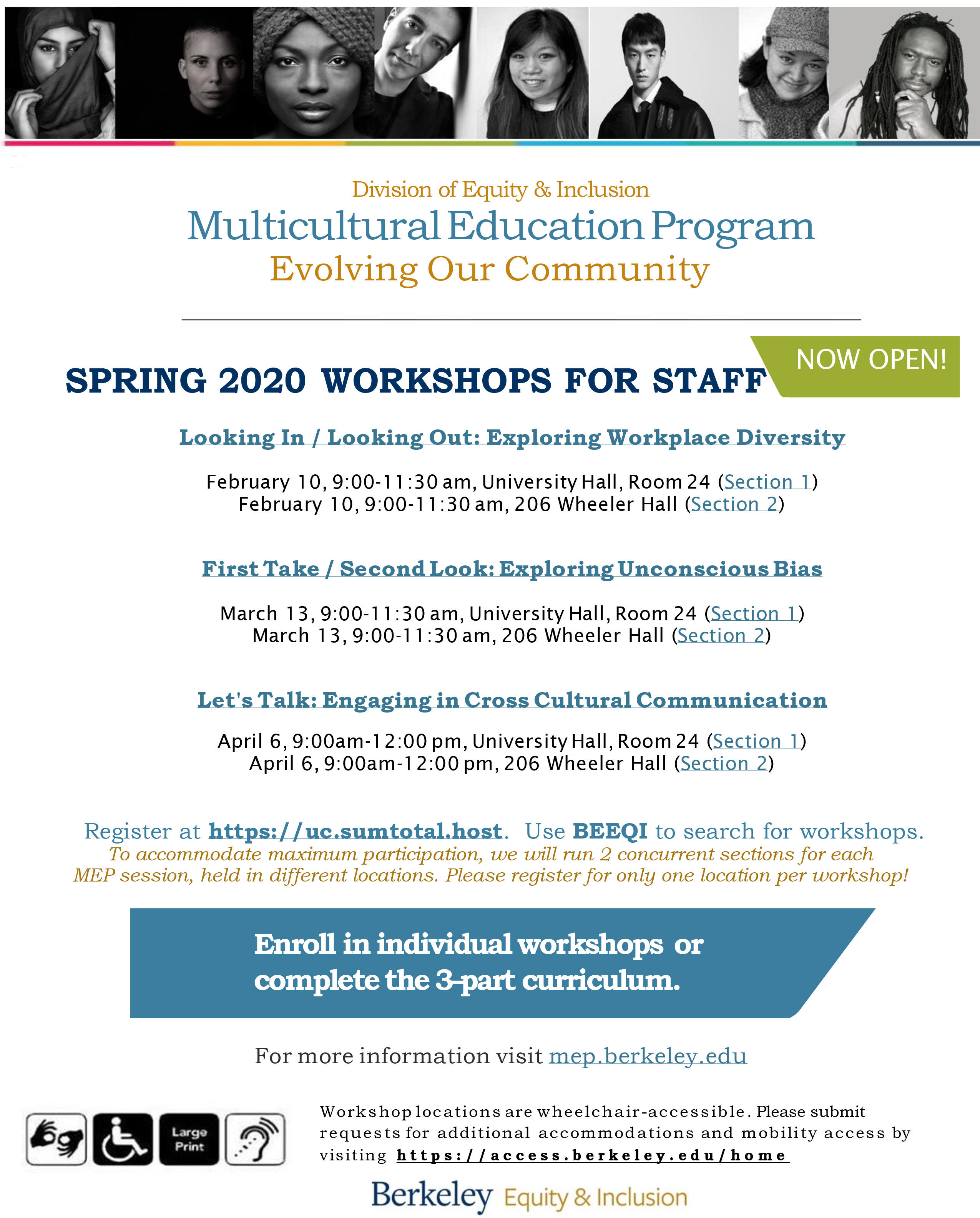 Multicultural Education Program - Spring 2020 workshops for UC Berkeley staff are open for enrollment. Take 1, 2, or all three parts.